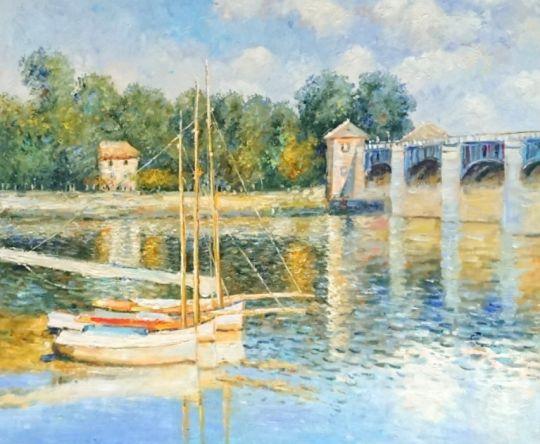 Лодки у моста.копия Моне.худ.С.Минаев