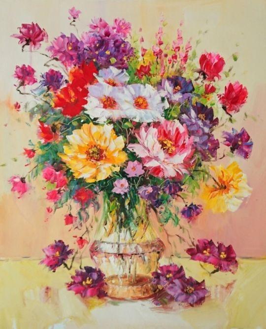 Букет ярких цветов.худ.Л.Гарсия
