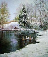 Зимний пруд.