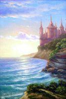 Замок на скале у залива.