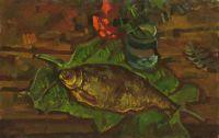 Натюрморт с рыбой на листьях