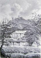 Пейзаж с водопадом.