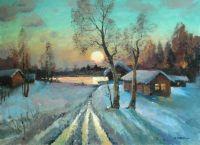 Зимний вечер, закат