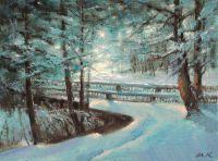 Зима в парке. Мостик