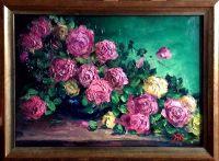 Букет роз в синей вазе