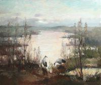 Заросшее озеро, журавли