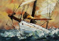 Разрезая волны. Картина Хосе Родригеса