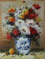 Букет в бело-синей вазе