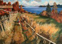 Теплая осень на озере