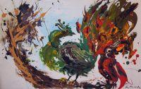 Абстракция Павлин и попугай