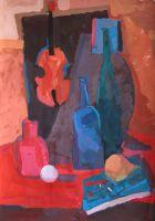 Красный натюрморт со скрипкой