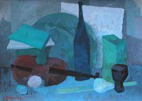 Синий натюрморт со скрипкой