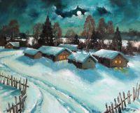 Лунная ночь в деревне