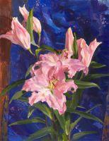 Розовые лилии и китайский шёлк