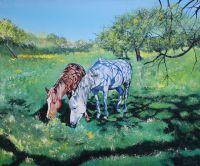 Лошади в яблоневом саду