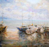 Лодки в утреннем заливе