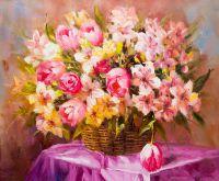 Букет из лилий и тюльпанов. Натюрморт в розовых тонах