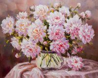 Букет бледно-розовых пионов