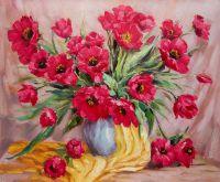 Натюрморт. Букет красных тюльпанов