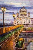 Москва. Вид на Храм Христа Спасителя через Патриарший мост