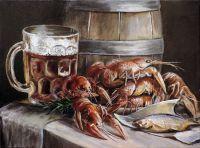 Натюрморт с пивом и раками