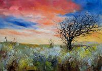 """Пейзаж маслом """"В осеннем поле на закате"""""""