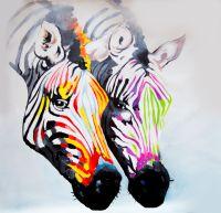 """Картина маслом """"Разноцветные зебры N3"""""""