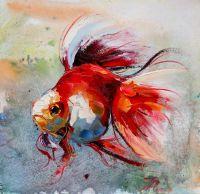 """Картина маслом """"Золотая рыбка для исполнения желаний. N9"""""""