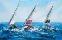 """Картина маслом """"Яхтинг. Под разноцветными парусами N2"""""""