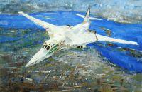 """Картина маслом """"Белый лебедь. Ту-160"""" Серия """"Самолеты"""""""