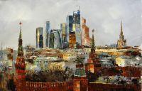 """Пейзаж маслом """"Москва. Времена и эпохи"""""""