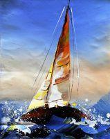 """Морской пейзаж маслом """"Яхтинг. Полный вперед N1"""""""