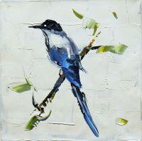 """Картина маслом """"Синяя птица счастья N2"""", серия """"Птицы"""""""