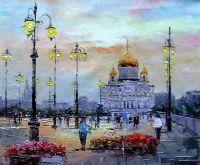 """Картина маслом """"Москва. Вид на Храм Христа Спасителя через Патриарший мост N2"""""""
