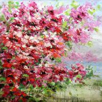 """Натюрморт маслом """"Красно-розовые цветы"""""""