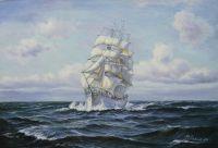 """Морской пейзаж маслом """"Парусник. Гармония белого и синего"""""""