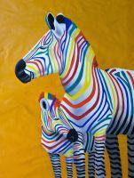 """Картина маслом """"Разноцветные зебры. Дочки-матери"""""""