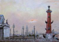 """Городской пейзаж """"Санкт-Петербург. Ростральные колонны"""""""
