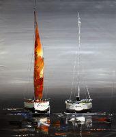 Яхтинг. Красный парус в вечернем море N2