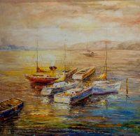 Лодки в закатном заливе