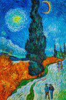 Копия картины Ван Гога. Дорога с кипарисом и звездой