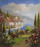 Средиземноморский городок. Кипарисы