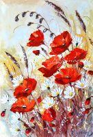 Красные маки и белые ромашки