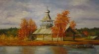 Деревянная часовня у реки