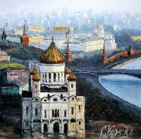 Москва. Вид на Храм Христа Спасителя. Эффект рассвета