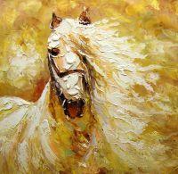 Портрет лошади в оттенках беж и охры