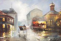 Картина маслом на холсте Городской пейзаж