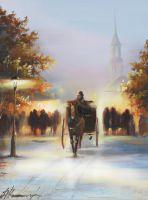 Картина маслом Город Зима Картина