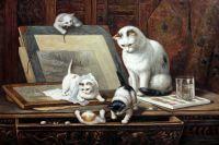 """Копия картины маслом Генриетты Роннер-Книп """"Рисующие котята"""", худ.С. Камский"""