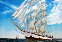 Морской пейзаж с парусником «Участвуя в регате»
